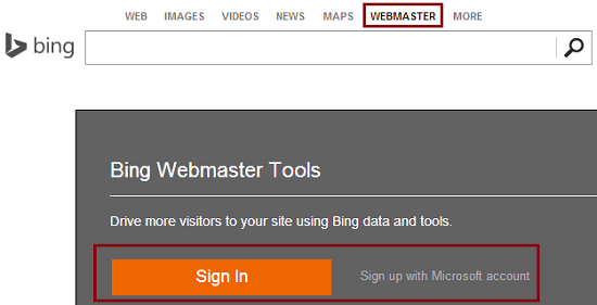 how to add a site to bing webmaster tool