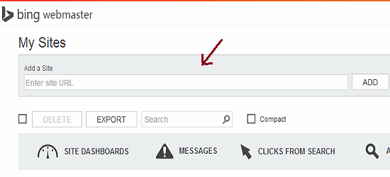 how to add a site to bing