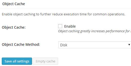 settings of w3 total cache