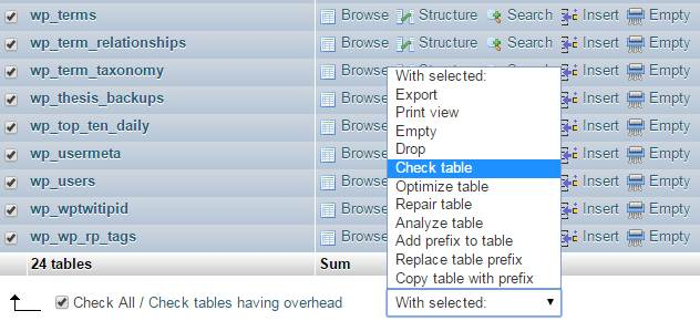 how to check and repair the database