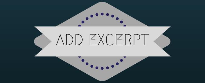add excerpt in wordpress