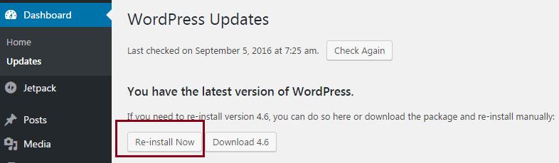 reinstall wordpress from dashboard