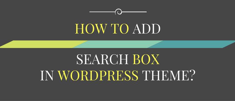 add search box in wordpress