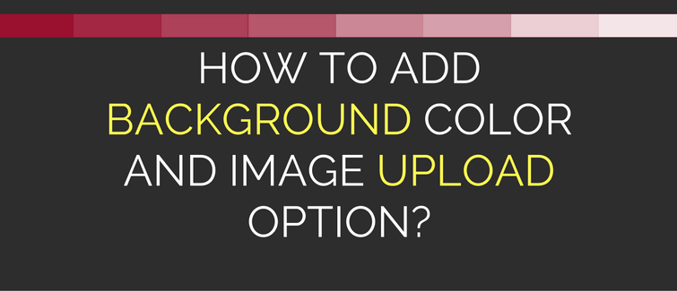 add background color and image upload option in wordpress