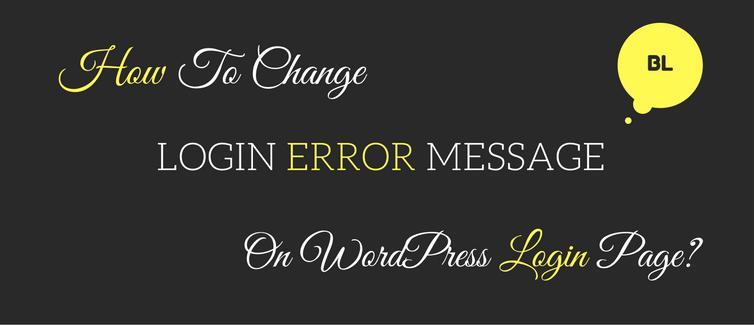 change login error message