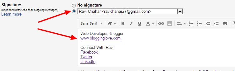 create a professional email signature