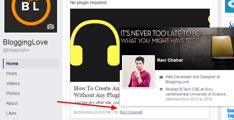 add facebook author meta tag in wordpress
