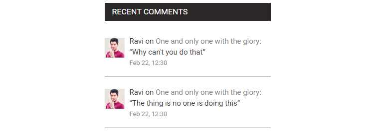 show recent comments