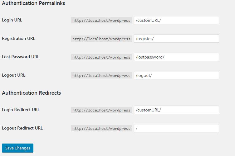 add custom login url