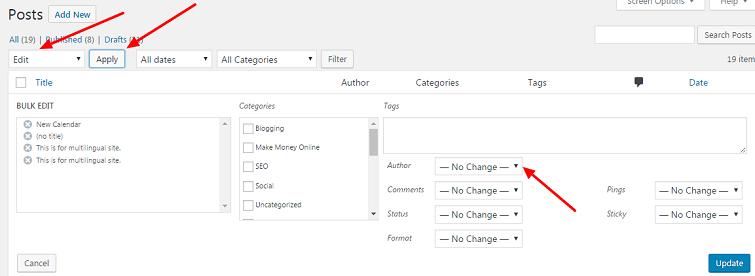 change the author name in WordPress post
