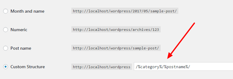 include category and subcategory in wordpress permalink structures