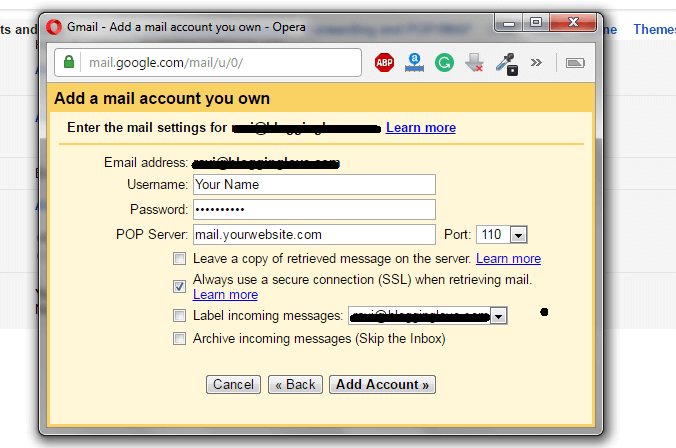 how to link webmail to gmail account