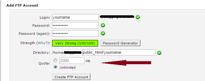 create ftp account in wordpress