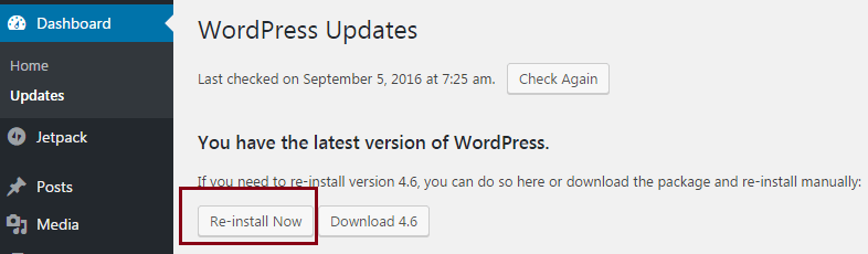 reinstall wordpress from dashboard