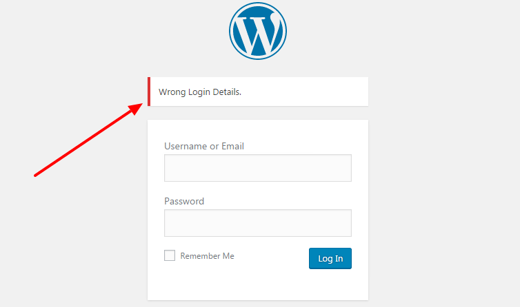 how to change login error message