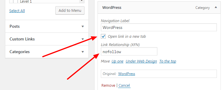 add nofollow links to wordpress navigation menu items