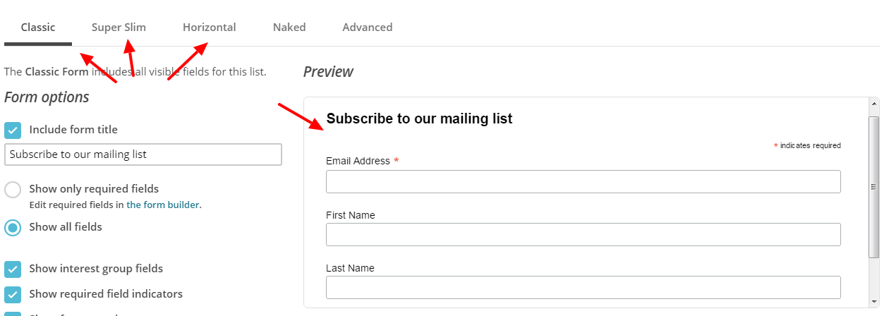 adding mailchimp subscription form