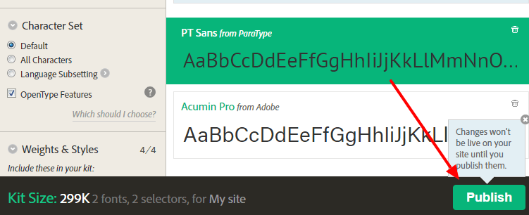 use typekit fonts