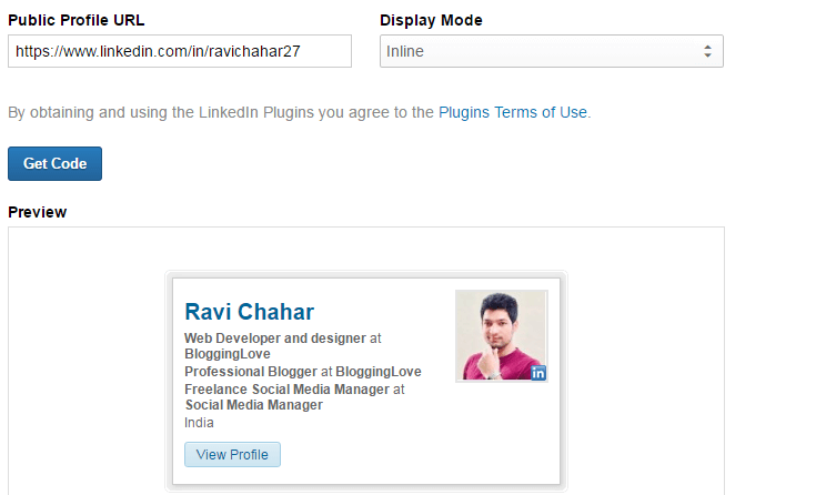 add linkedin widget