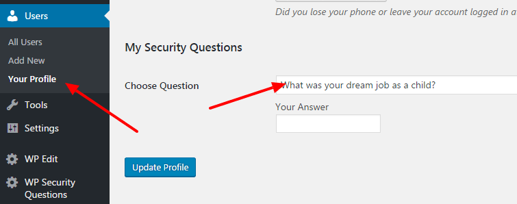 add a security question
