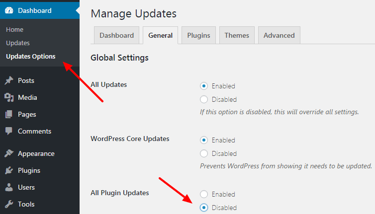 disable updates