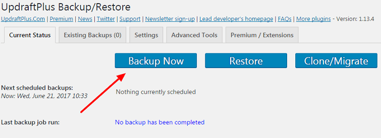 Backup using UpdraftPlus