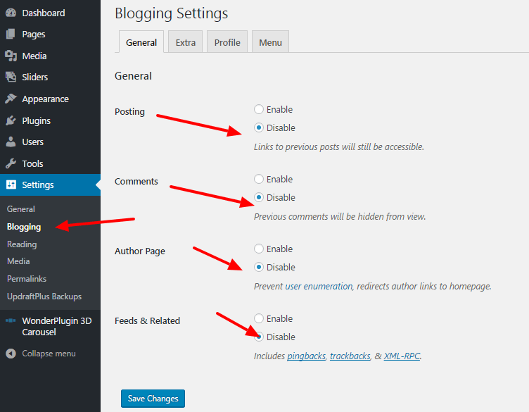 How to disable blog features