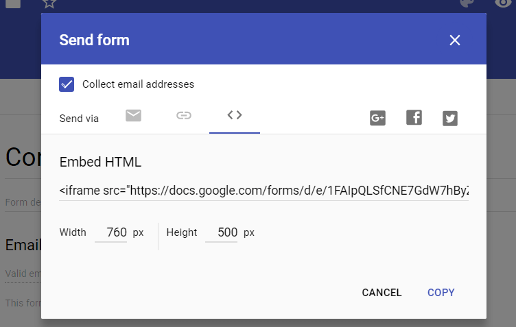 Add a Google form