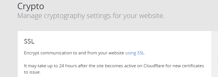 Enable SSL using CloudFlare